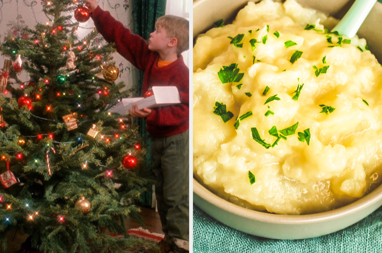Kevin McCallister decorates his Christmas tree from Home Alone, next to an image of mashed potatoes