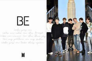 BTS's album cover for BE next to an image of the group