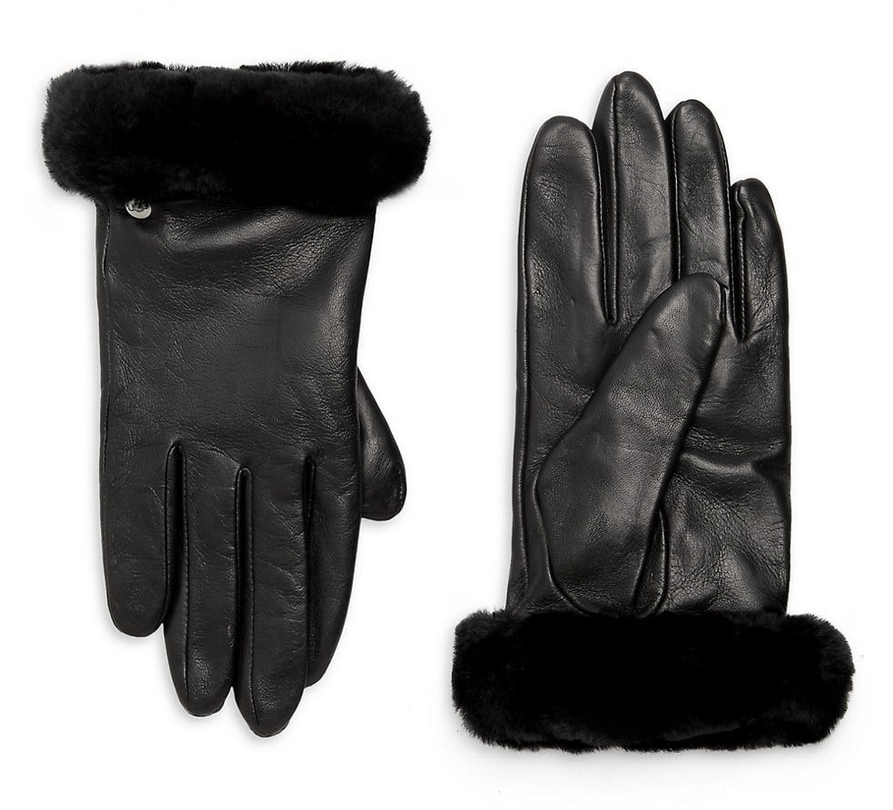 The black gloves with furry trim on the wrists
