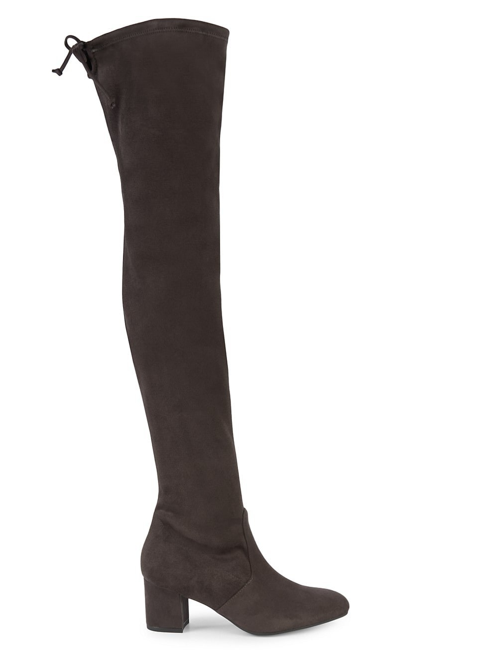 The black boots with drawstring at the top and a block heel