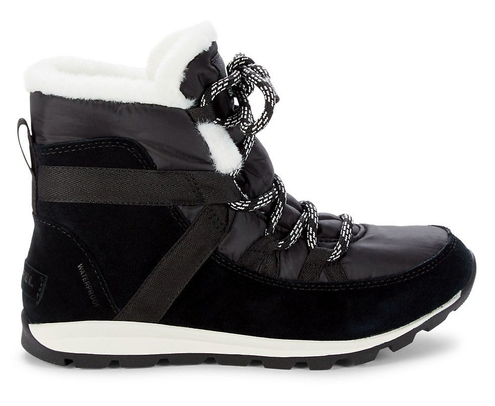The black boots with white faux fur interior and detailing