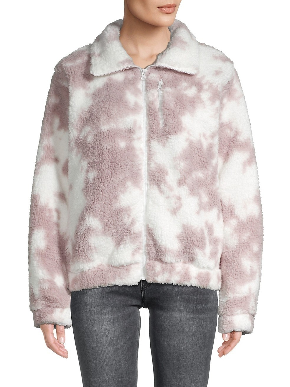 Model in the hip-length pink and white tie dye zip-front jacket