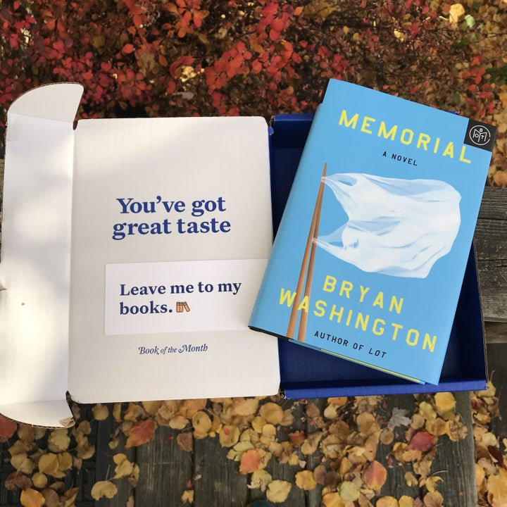 book of the month box with a bookmark and memorial by brian washington