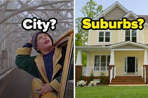 """Kevin from """"Home Alone"""" is on the left labeled, """"City?"""" with a house on the right labeled """"Suburbs?"""" on the right"""