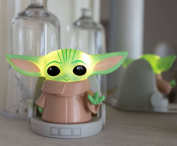 The Baby Yoda-shaped light where the head lights up