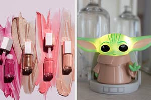 Fenty lip glosses and a baby yoda light