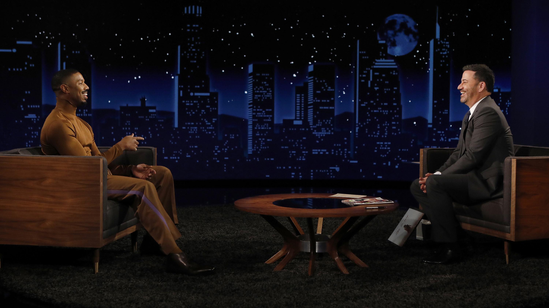 Michael B. Jordan sits across from Jimmy Kimmel