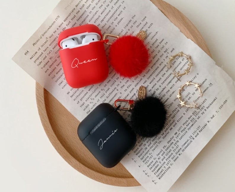 A case for AirPods with a pompom