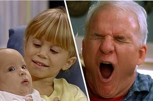 "Michelle from ""Full House"" is holding a baby with Steve Martin screaming on the right"