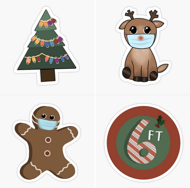 the sticker set, which includes a gingerbread man and reindeer wearing masks, a 6 ft apart sticker, and a Christmas tree