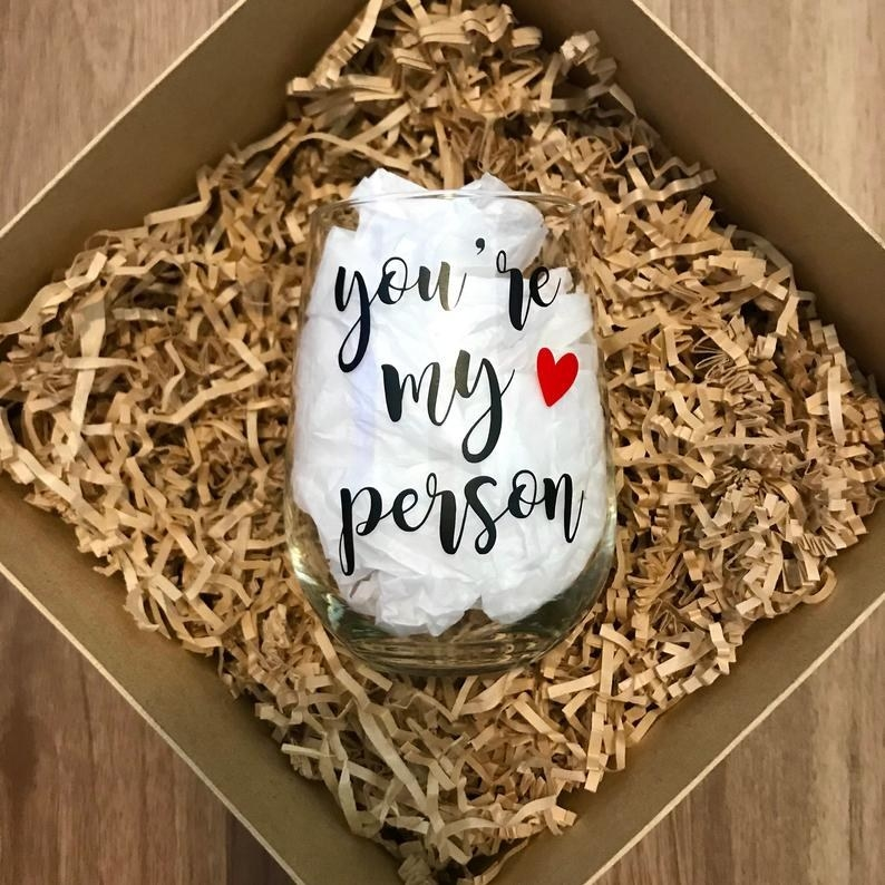 A tumbler in a box that says you're my person