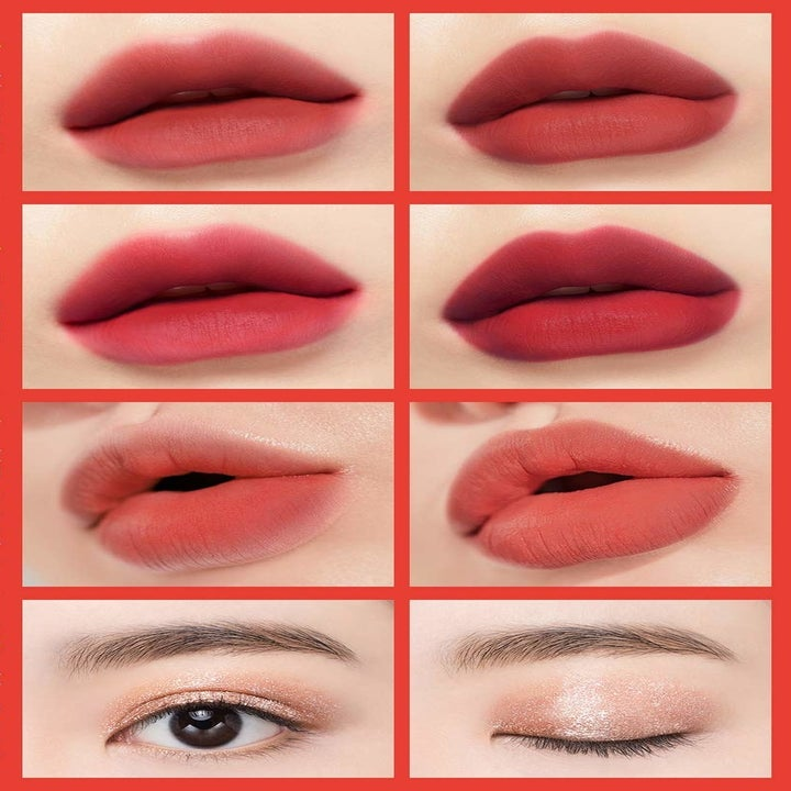 a chart showing how the lip tints look on lips and how the eyeshadow looks on eyes