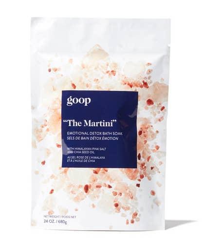 A bag of bath soak called The Martini emotional detox bath salt