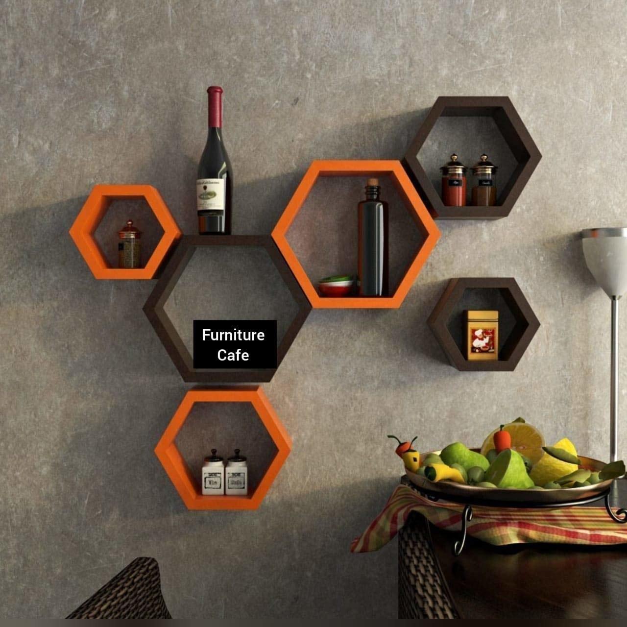 Hexagon shelves in orange and brown