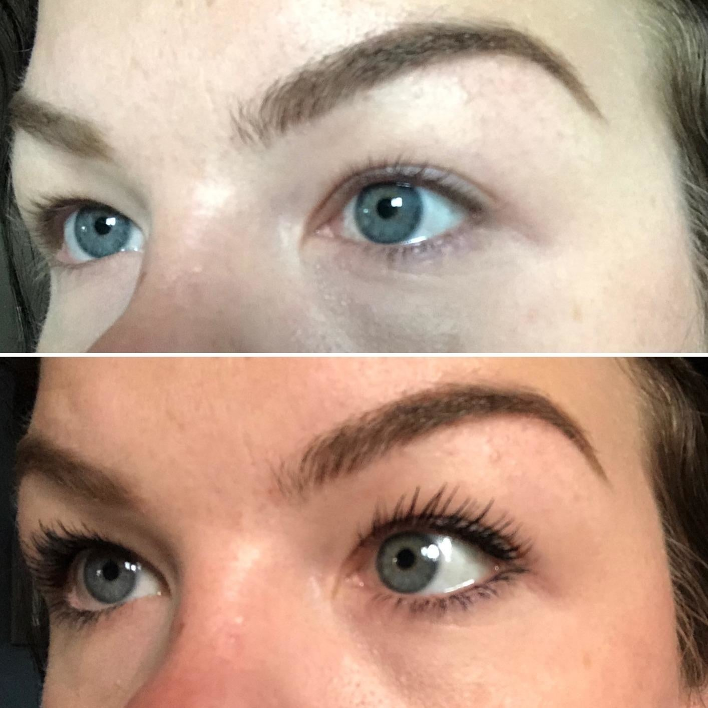 before and after showing the mascara made their light lashes visible and lengthened