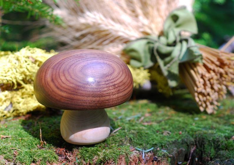 A carved wooden mushroom