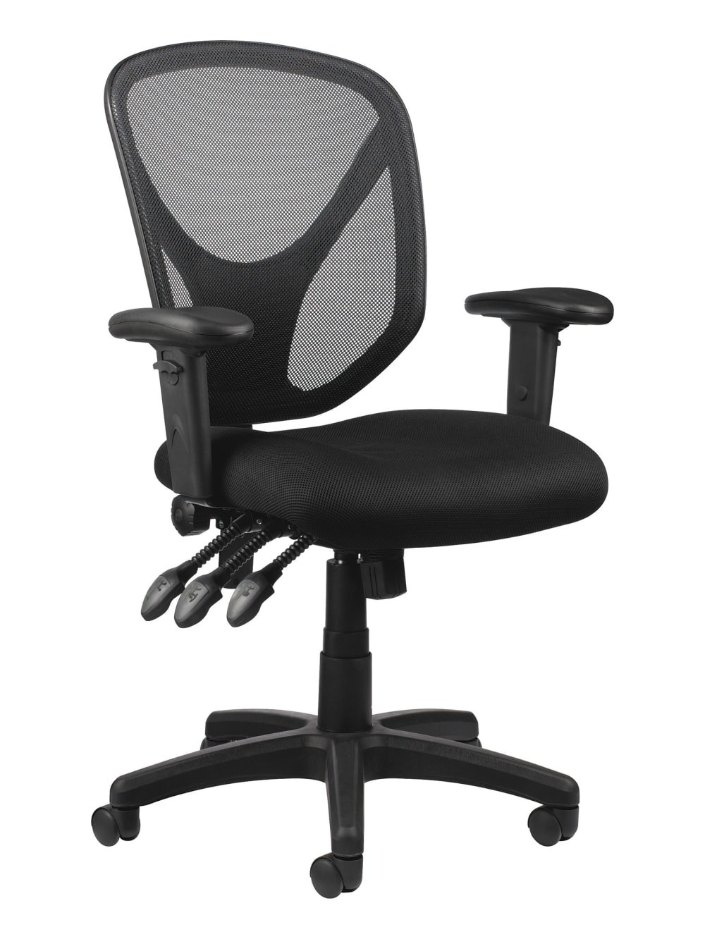 The mesh back black task chair with arm rests