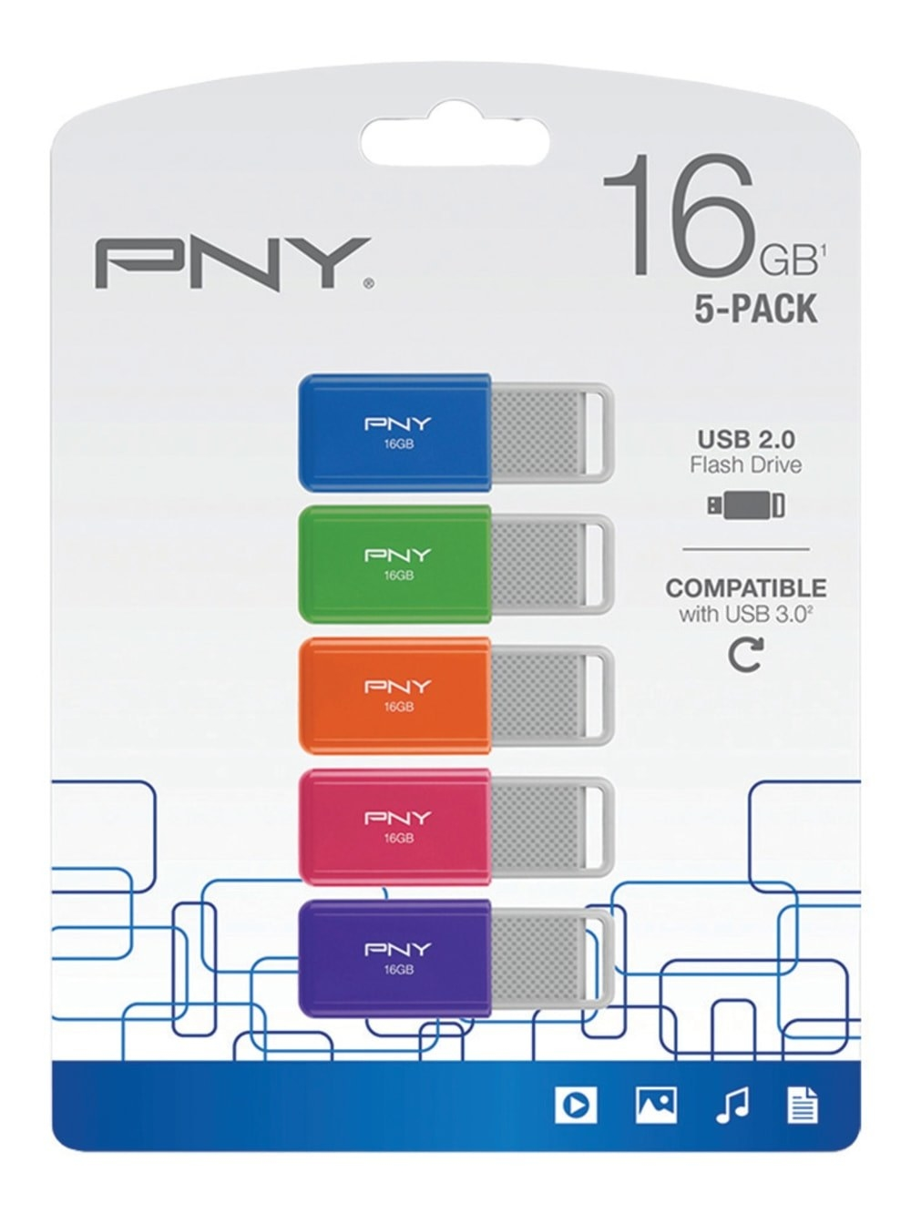 Five flash drives in different colors: blue, green, orange, pink, and purple