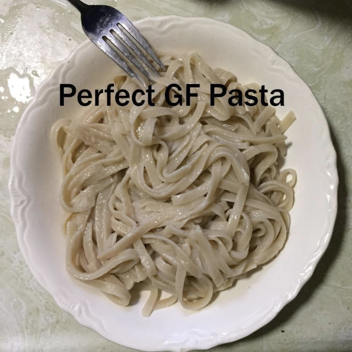 "reviewer photo of a paste plate with text ""perfect GF pasta"""