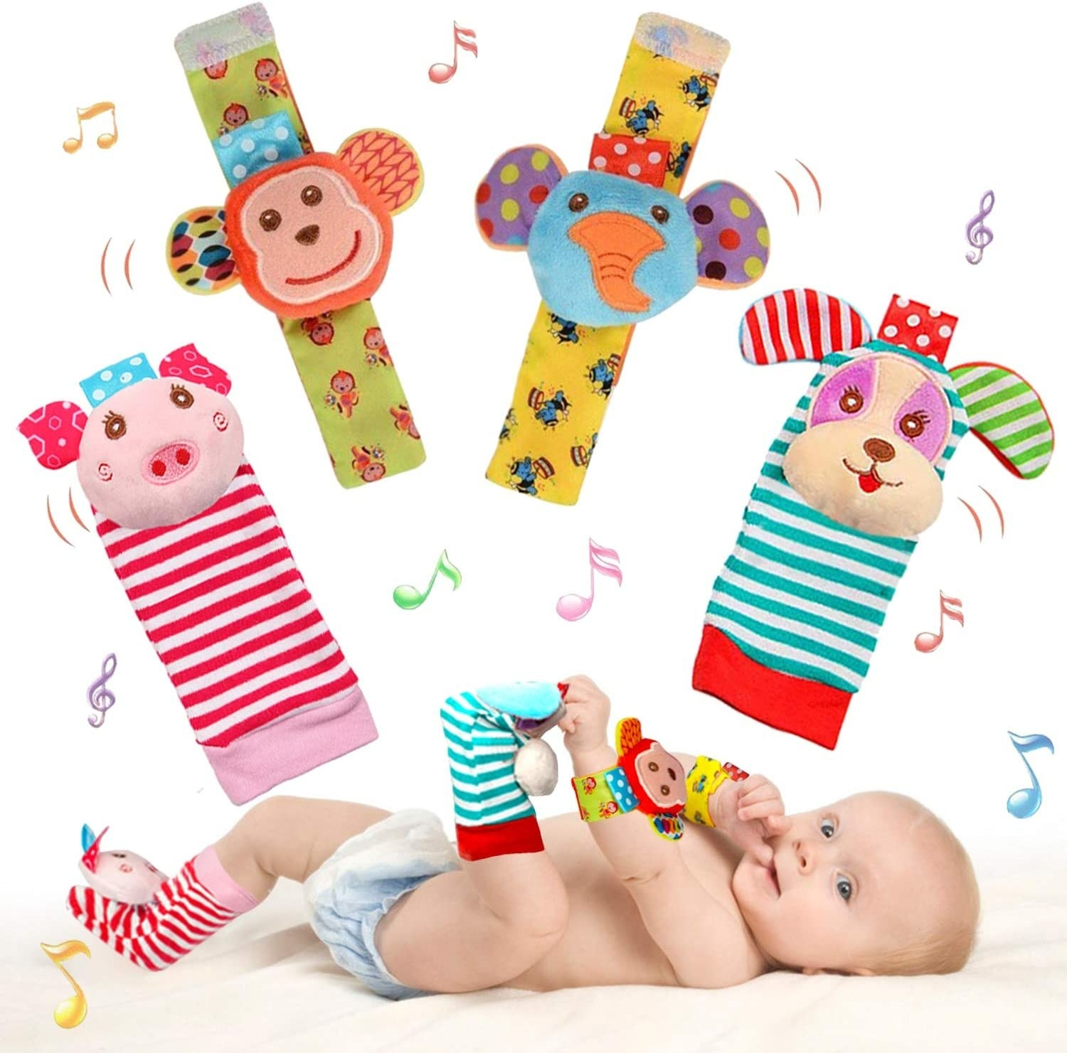 a baby wearing the foot rattles