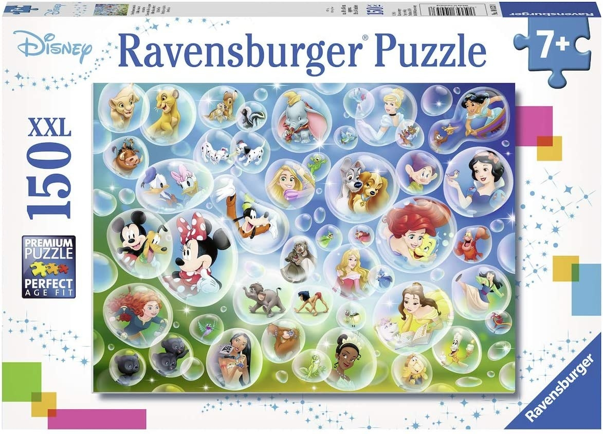 a puzzle of bubbles with disney characters inside each one