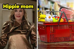 """Moira from """"Schitt's Creek"""" is labeled, """"Hippie mom"""" on the left with a basket of groceries on the right"""