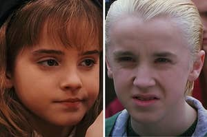 Hermione Granger is on the left smirking and Draco is on the right making a face of disgust on the right