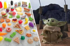 to the left: toy food, to the right: a baby yoda doll