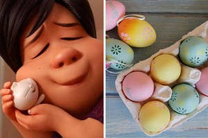 """A mother from """"Bao"""" is on the left holding her son with a carton of Easter eggs on the right"""