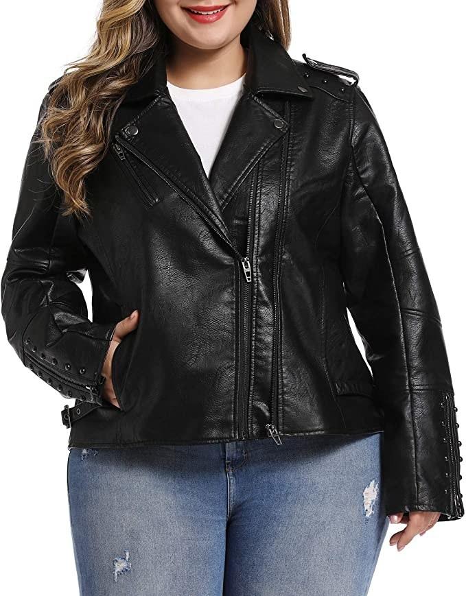 model wearing leather jacket zipped up