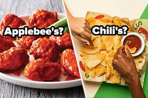 """A basket of wings are on the left labeled, """"Applebee's"""" with nachos on the right labeled, """"Chili's?"""""""