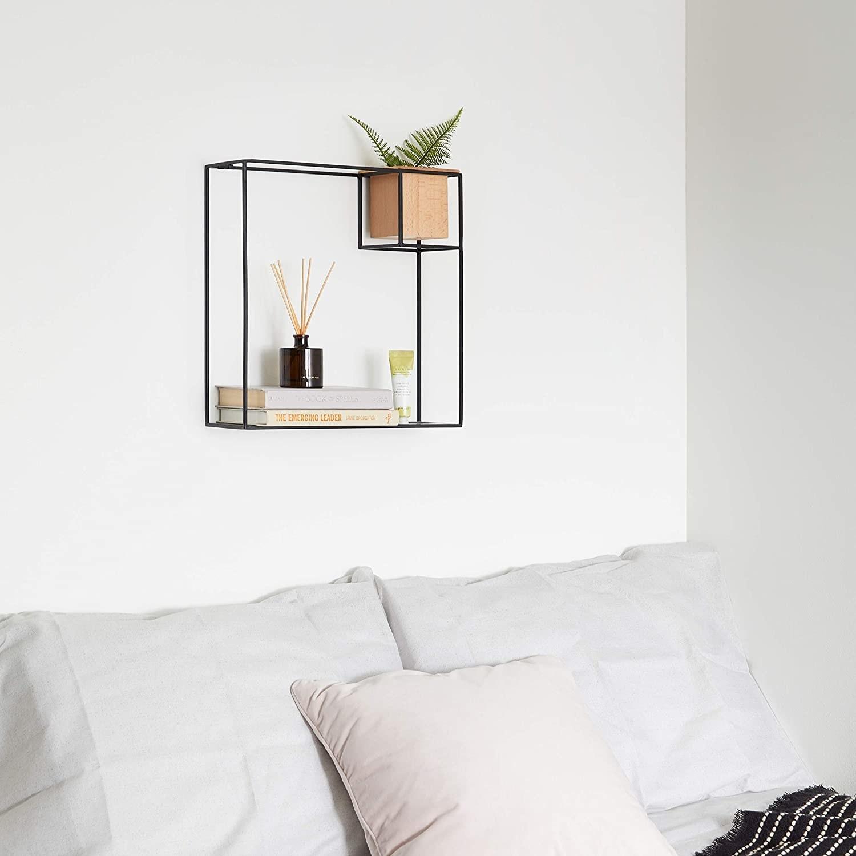 Cubist floating wall shelf in black