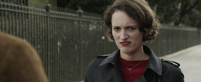 Phoebe Waller-Bridge as Fleabag looking at the camera with a disgusted face