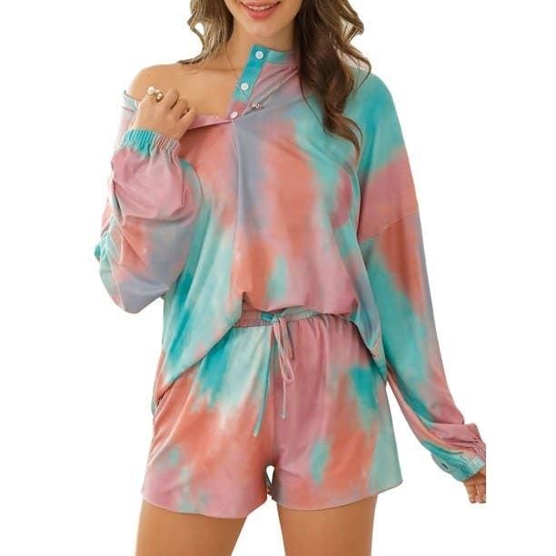 Model in tie-dye loungwear set