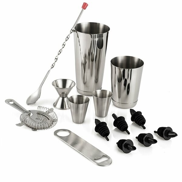 A bartender's tool set with cocktail shakers, jiggers, a strainer, and a mixing spoon.