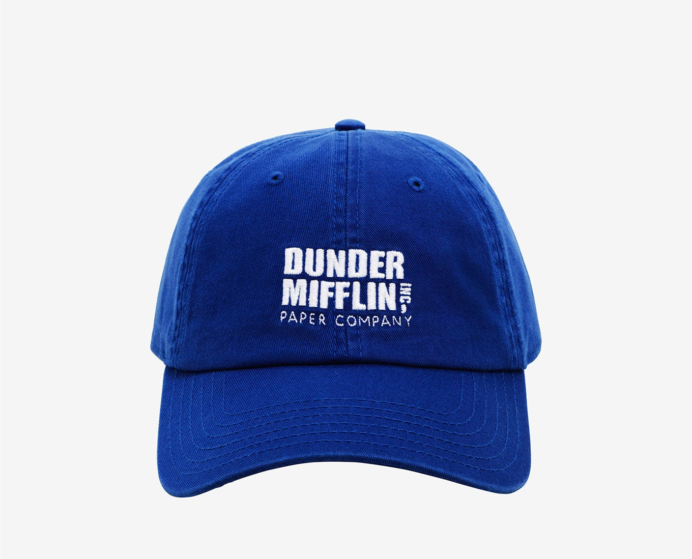 """blue hat with """"Dunder Mifflin Paper Company"""" on front"""