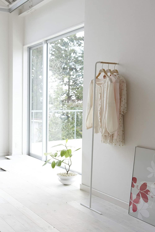 Leaning coat rack in white