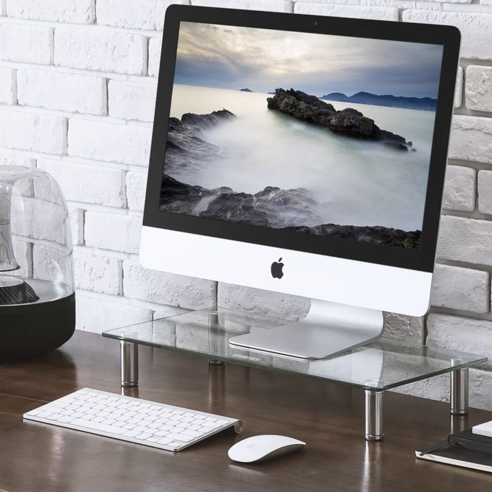 The desktop standing under an iMac