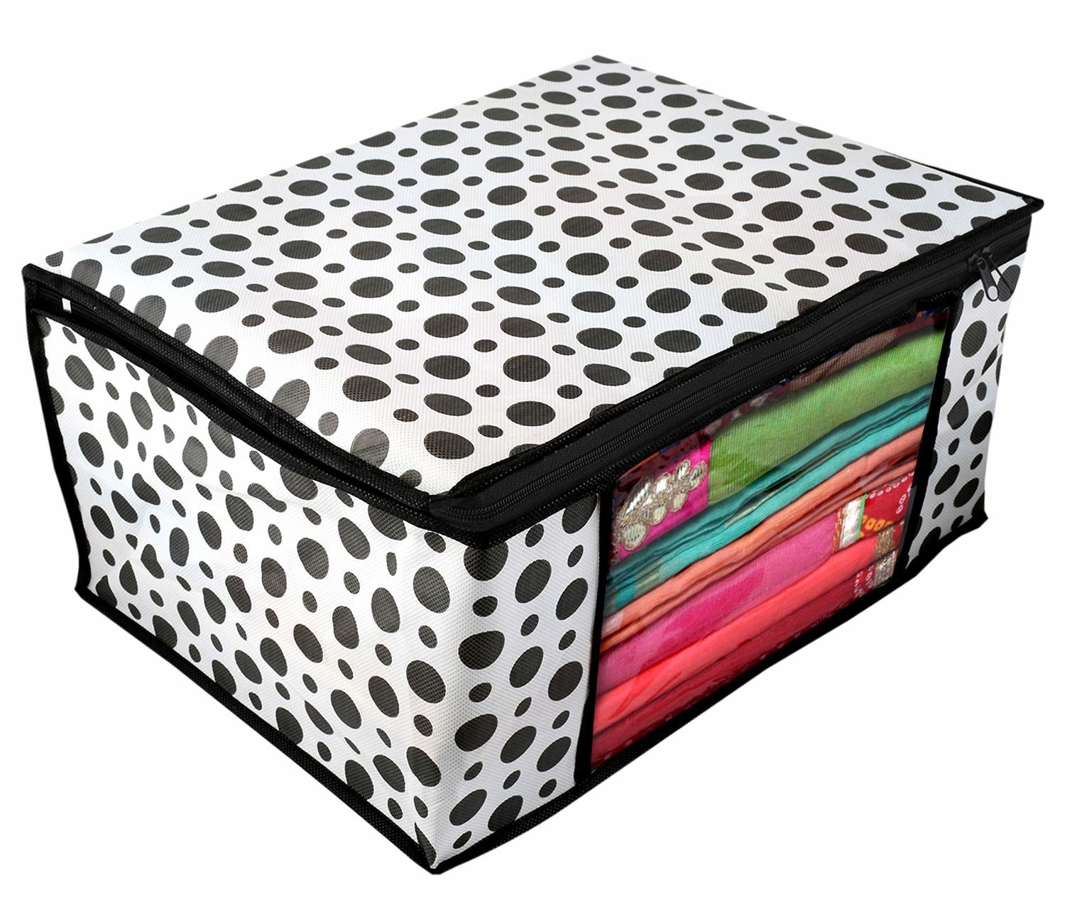 Sarees kept in a black and white polka dot clothes organiser with a transparent window.