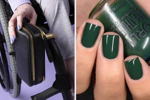 On the left, a model using a pouch style bag attached to their wheelchair. On the right, nails painted with dark green polish