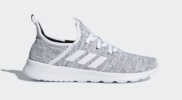 White and black marled knit sneaker