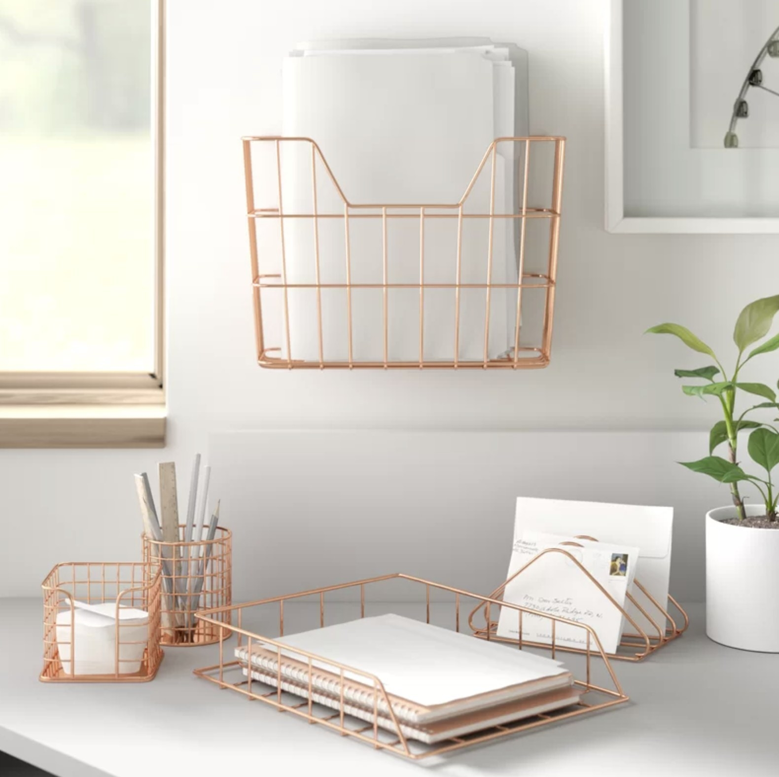 The five-piece wire metal organizer set