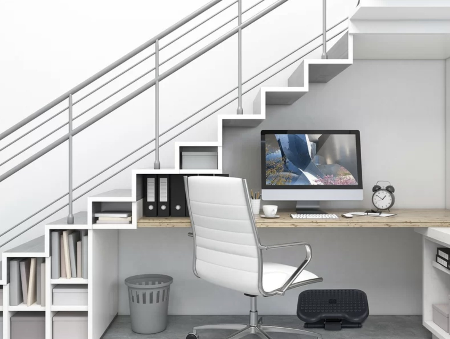 A footrest under a desk