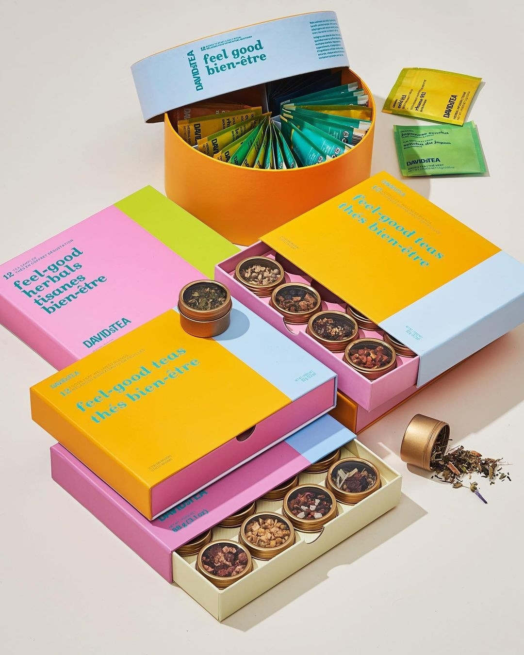 Four gift boxes filled with tea samples