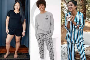 to the left: a reviewer in a black tee pajama set, middle: a model in mickey pajamas, to the right: a model in striped pajamas