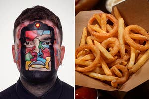 """On the left, someone with a painted face from the show """"Glow Up,"""" and on the right, a container filled with fries and onion rings"""
