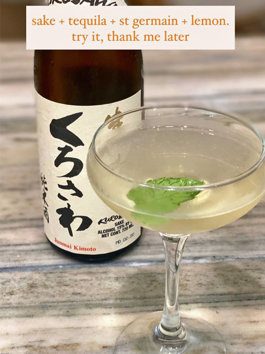 A sake cocktail with a shiso leaf.