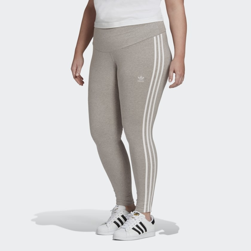Model wearing grey leggings