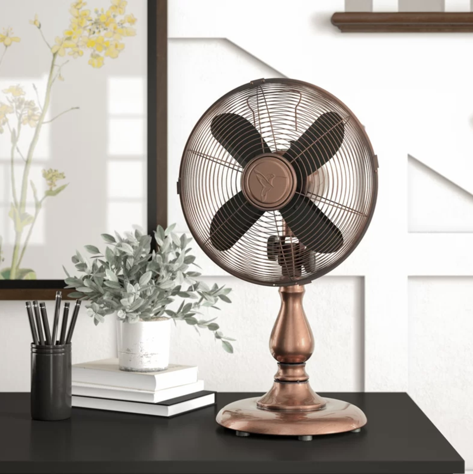 A copper desk fan