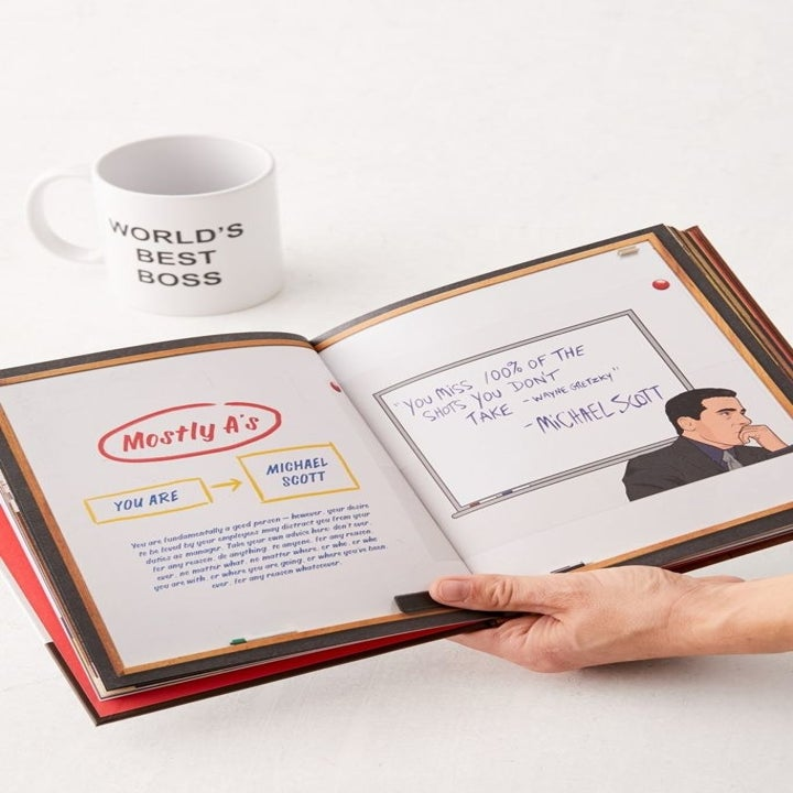 the book opened to a page with illustrations of Michael Scott and popular quotes